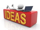 3d-man op zoek naar ideeën — Stockfoto