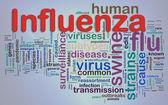 Wordcloud av influensa — Stockfoto