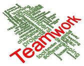 Wordcloud 3d del trabajo en equipo — Foto de Stock