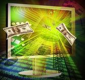 Koncept online jak vydělat peníze — Stock fotografie
