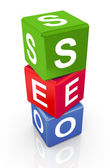 3d buzzword text 'seo' — Foto de Stock