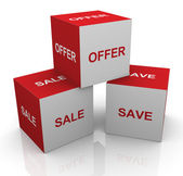 3d sale, offer and save words cubes — Stock Photo