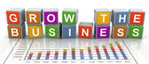 3d buzzword text 'grow the business' — Zdjęcie stockowe