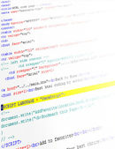 Closeup of html code — Stock Photo