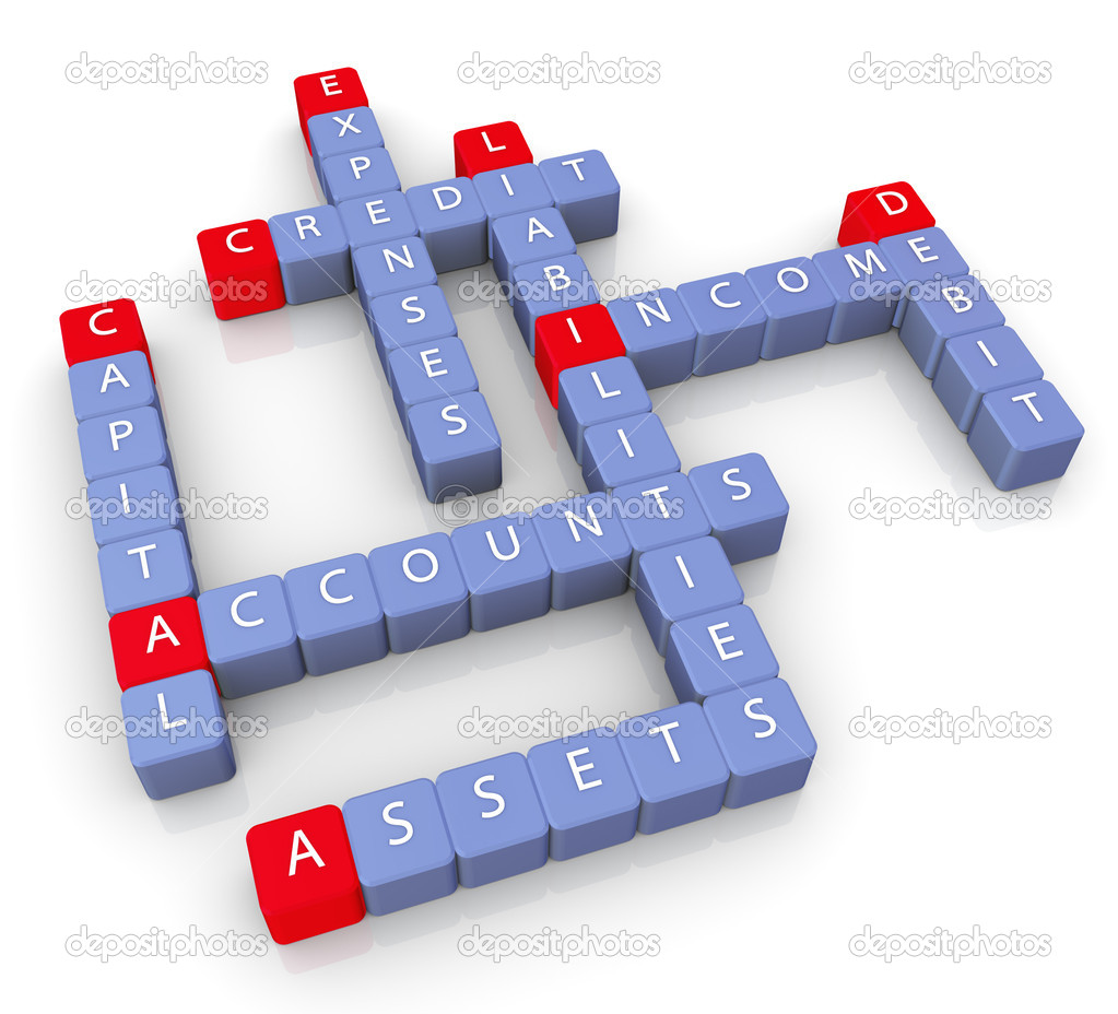 3d render of crossword of accounts concept — Stock Photo #8998263