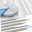 3d pie chart on spreadsheet background — Foto de Stock