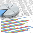 3d pie chart on spreadsheet background — Stockfoto