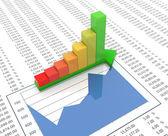 3d progress bar on spreadsheet background — Stock Photo