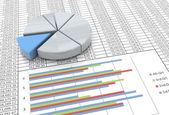 3d pie chart on spreadsheet background — Stock Photo