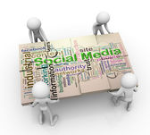 3d men and social media Puzzle peaces — Stock Photo