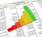 3d progress bar on trial balance sheet — Stock Photo