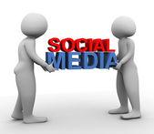 3d men with 'social media' — Stock Photo