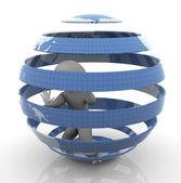 Uomo 3d all'interno del globo in gabbia — Foto Stock