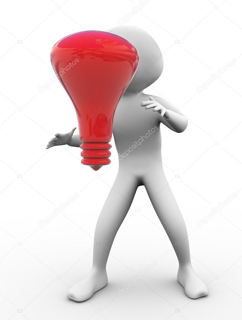 3d man with red bulb. Concept for searching for new ideas — Stock Photo #9086440