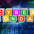 3d buzzword text 'cyber monday' — Stok fotoğraf