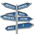 Foto de Stock  : 3d questions direction sign