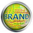 Shiny button of 'brand' wordcloud — Stok fotoğraf