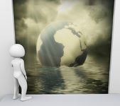 3d man and environmental pollution — Stockfoto