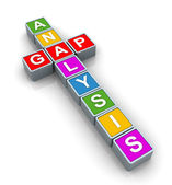 3d Buzzword 'gap analysis' — Stock Photo