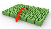 3d maze and arrow — Stock Photo
