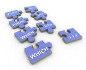 3d-vraag woord puzzel stukken — Stockfoto
