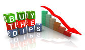 3d buzzword text 'buy the dips' — Stock Photo