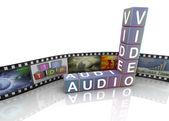 Audio video and film reel — Stock Photo