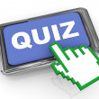 3d quiz button and hand cursor pointer — Stock Photo #9417502