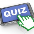 3d quiz button and hand cursor pointer — Stock Photo