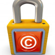 3d copyright padlock — Stock Photo