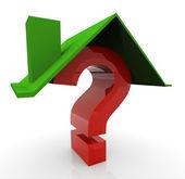 3 d の家と質問 — ストック写真
