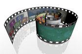 3d spiral film strip — Stok fotoğraf
