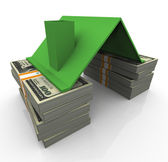 3d dollar house — Stock Photo