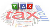 3d buzzword text tax — Stock Photo