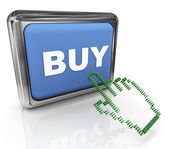 3d buy button and pointer — Foto de Stock