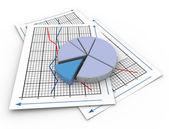 3d-cirkeldiagram op grafiek papier — Stockfoto