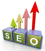 3d relfective seo text — Stock Photo