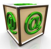 3d sześcian znak e-mail — Zdjęcie stockowe