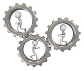 3d men and gears — Stockfoto