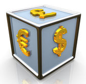 3d currencies symbols signs cube — Foto de Stock
