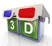 3d-glasögon med 3d-text — Stockfoto