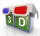 Gafas 3d con texto 3d — Foto de Stock