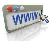 3d-internetbrowser en aanwijzer — Stockfoto