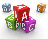 3d colorful abc boxes — Photo