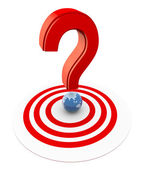 3d question mark on target — Stock Photo