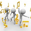 Dancing with music notes - Stock Photo