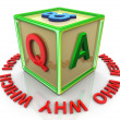 3d colorful question answer cube — Stock Photo