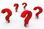 3d question marks words — Stok fotoğraf