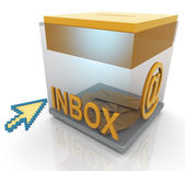 3d inbox and mouse pointer — Stock Photo