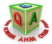 3 d のカラフルな質問答えキューブ — ストック写真